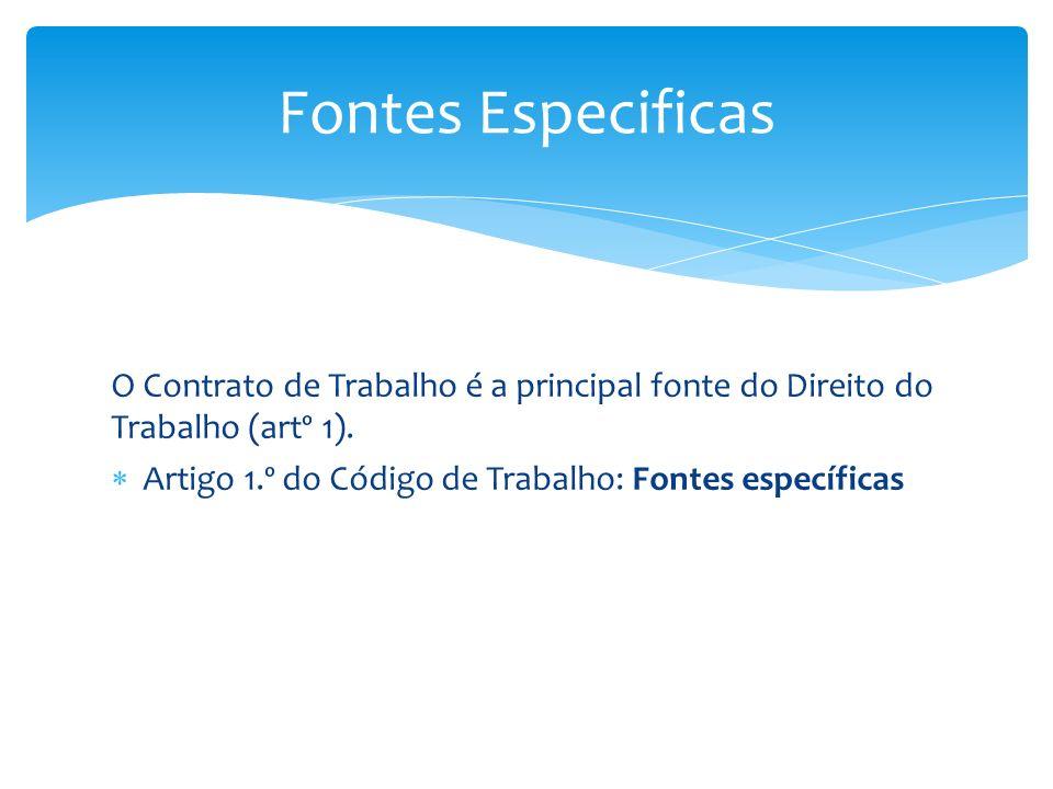 Fontes Especificas O Contrato de Trabalho é a principal fonte do Direito do Trabalho (artº 1).