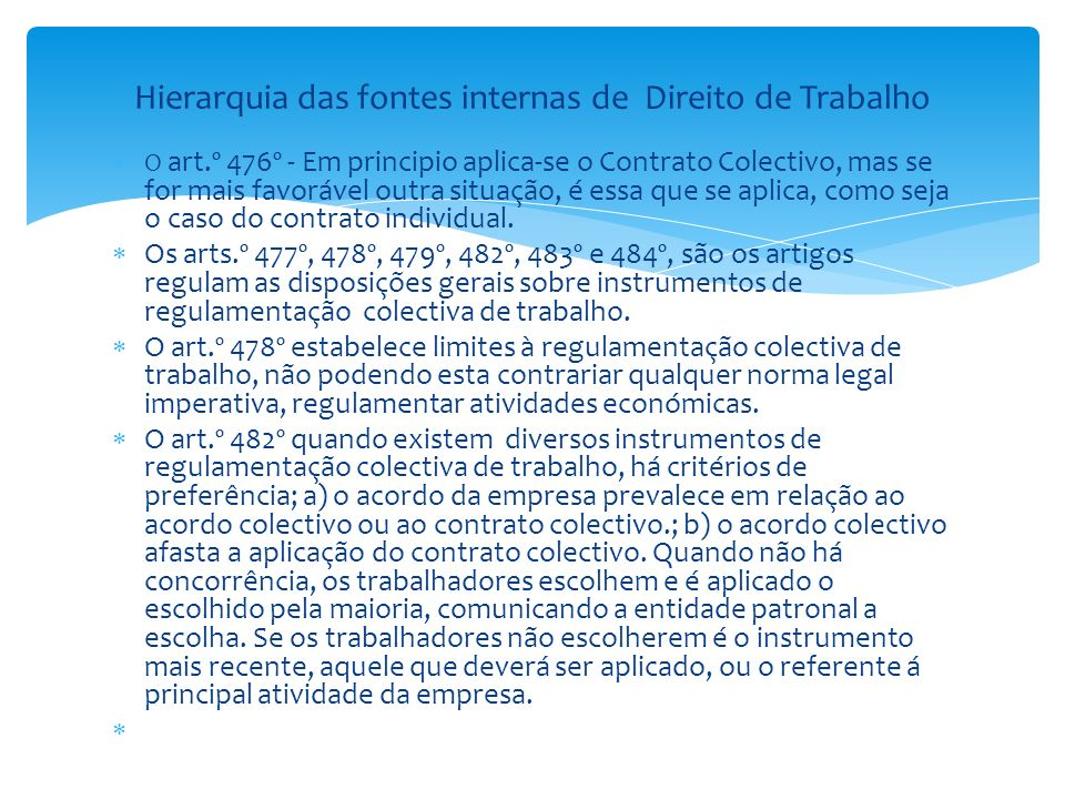 Hierarquia das fontes internas de Direito de Trabalho