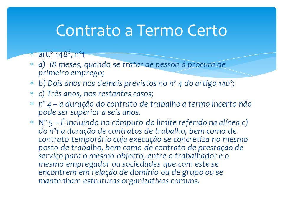 Contrato a Termo Certo art.º 148º, nº1