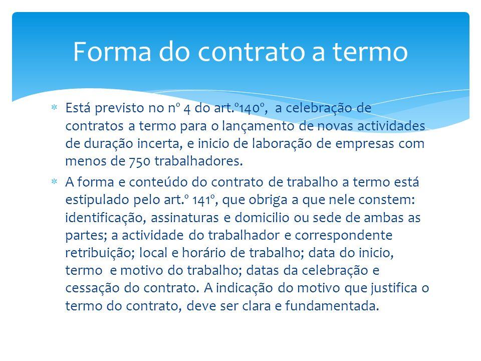 Forma do contrato a termo