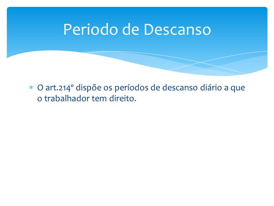 Periodo de Descanso O art.214º dispõe os períodos de descanso diário a que o trabalhador tem direito.