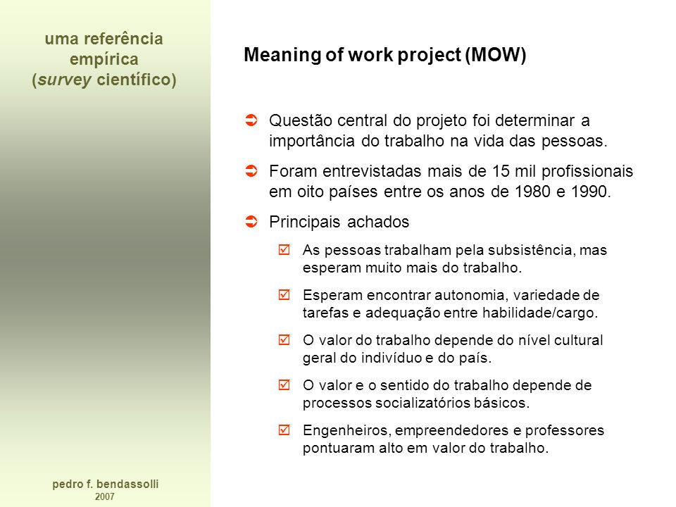 uma referência empírica (survey científico)