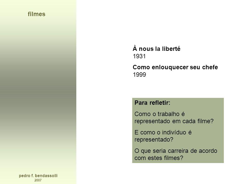 filmes À nous la liberté 1931. Como enlouquecer seu chefe 1999. Para refletir: Como o trabalho é representado em cada filme