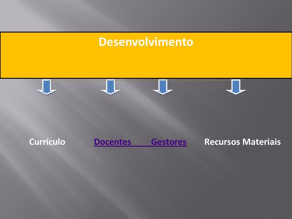 Desenvolvimento Currículo Docentes Gestores Recursos Materiais