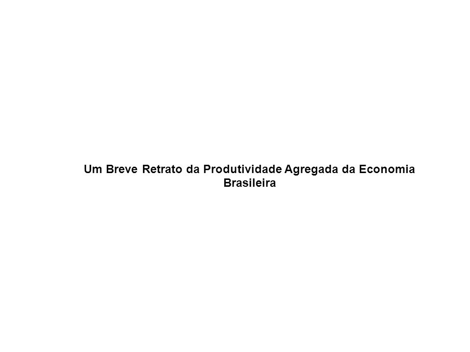 Um Breve Retrato da Produtividade Agregada da Economia Brasileira