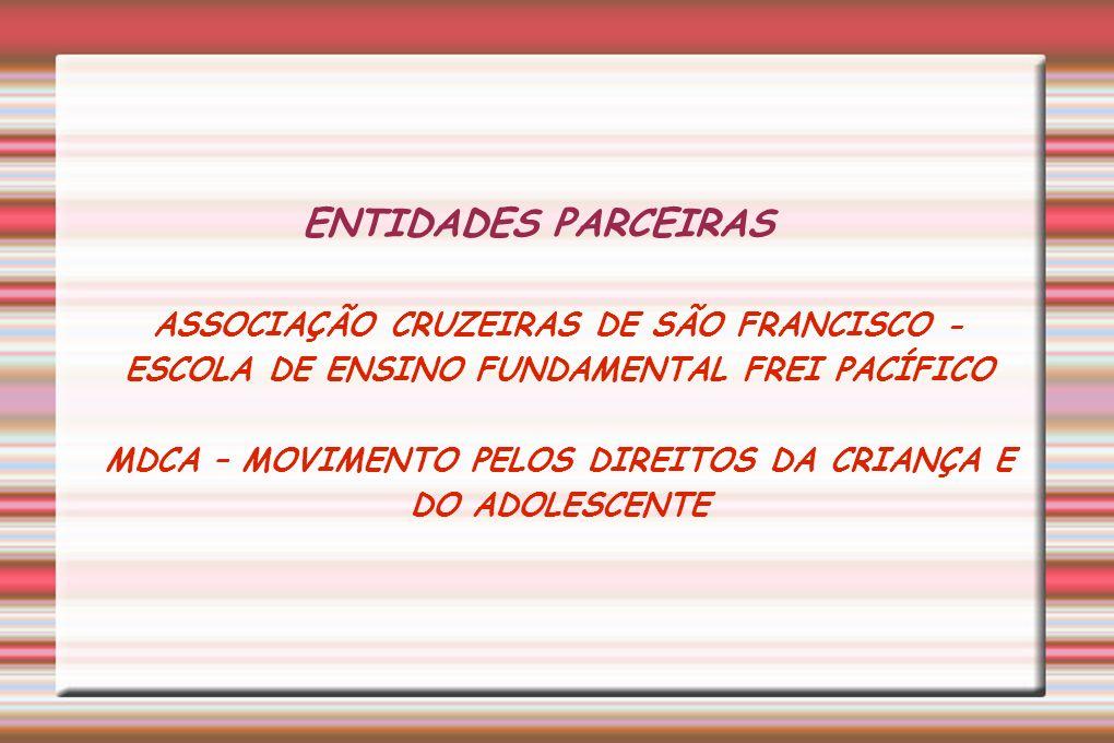 ENTIDADES PARCEIRAS ASSOCIAÇÃO CRUZEIRAS DE SÃO FRANCISCO - ESCOLA DE ENSINO FUNDAMENTAL FREI PACÍFICO MDCA – MOVIMENTO PELOS DIREITOS DA CRIANÇA E DO ADOLESCENTE
