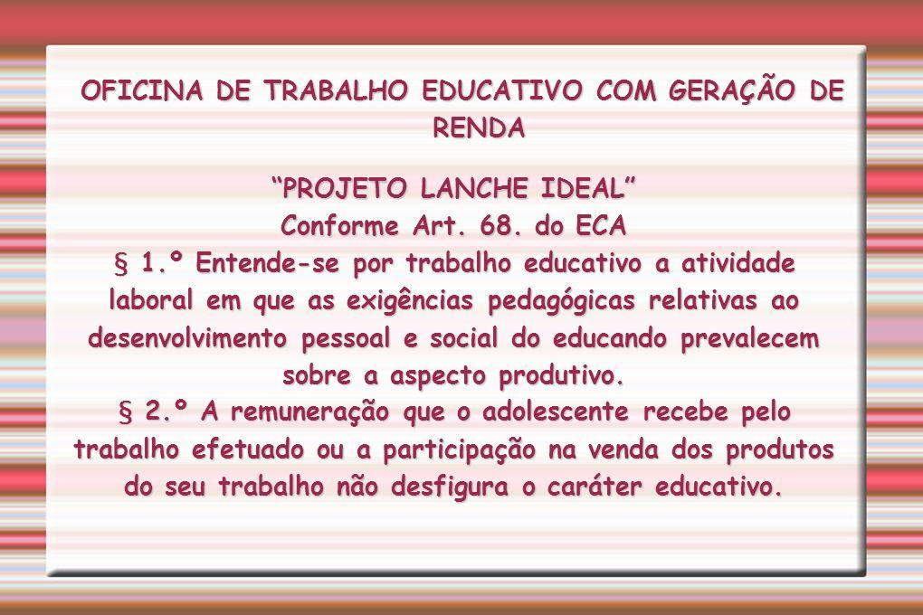OFICINA DE TRABALHO EDUCATIVO COM GERAÇÃO DE RENDA