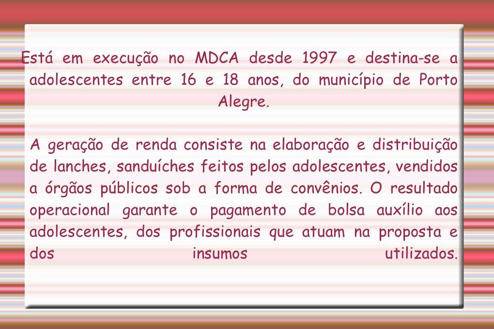 Está em execução no MDCA desde 1997 e destina-se a adolescentes entre 16 e 18 anos, do município de Porto Alegre.