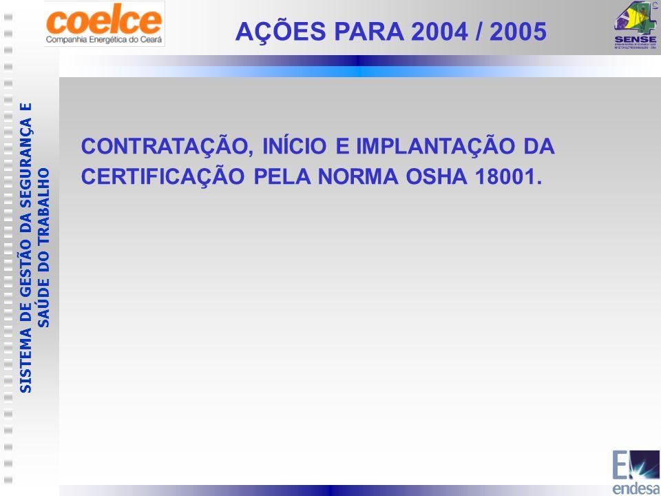AÇÕES PARA 2004 / 2005 CONTRATAÇÃO, INÍCIO E IMPLANTAÇÃO DA CERTIFICAÇÃO PELA NORMA OSHA 18001.