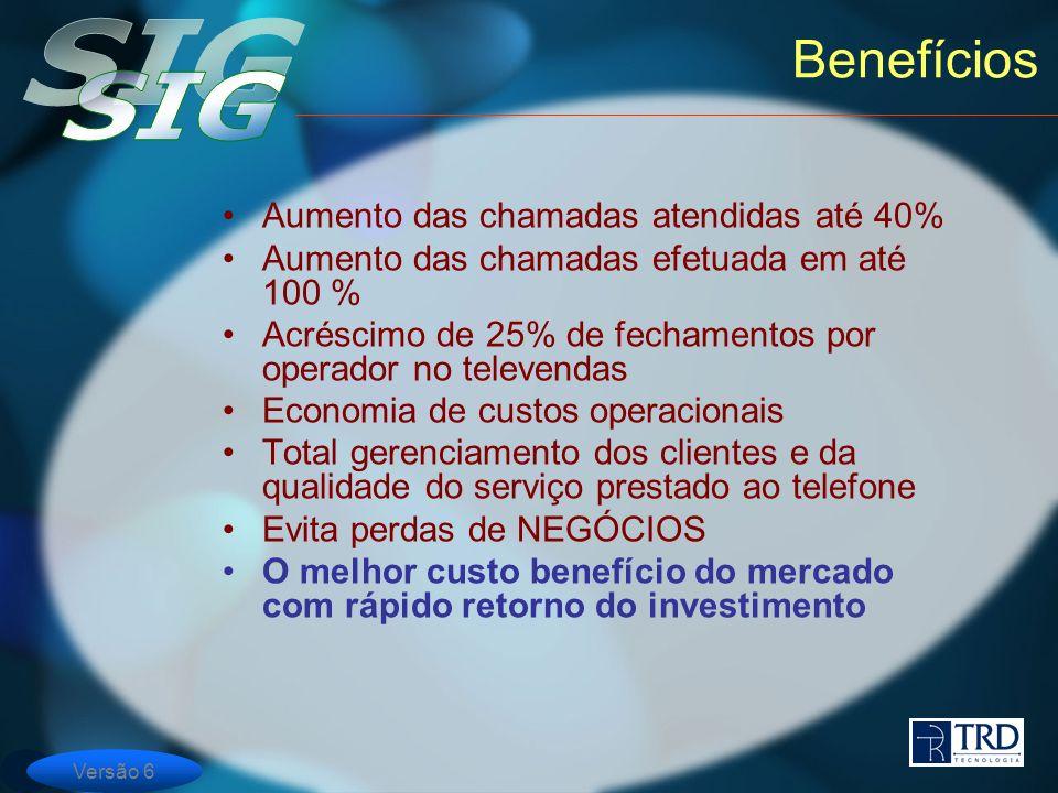 Benefícios Aumento das chamadas atendidas até 40%