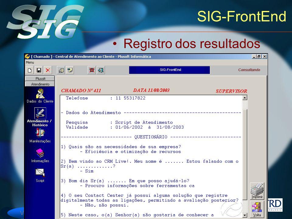 SIG-FrontEnd Registro dos resultados SIG-FrontEnd