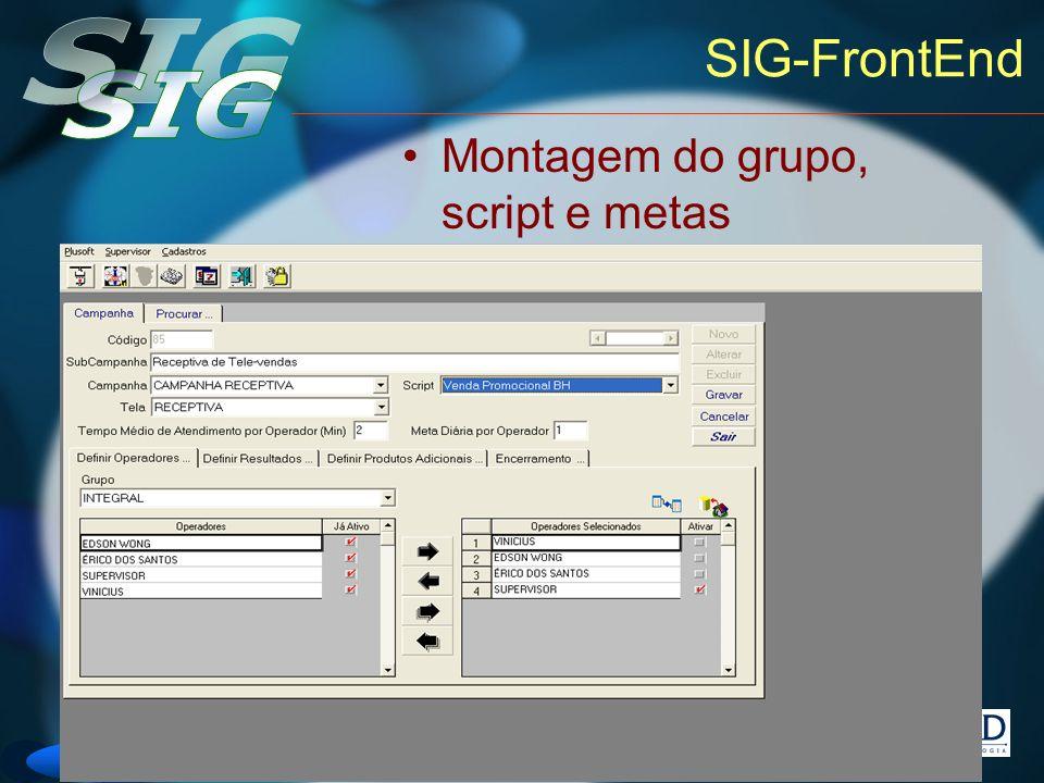 SIG-FrontEnd Montagem do grupo, script e metas