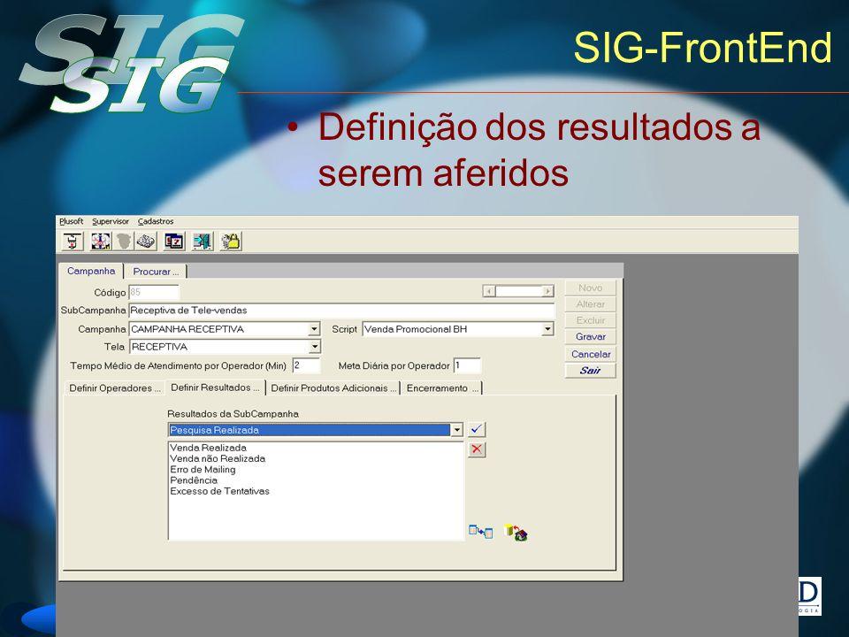 SIG-FrontEnd Definição dos resultados a serem aferidos