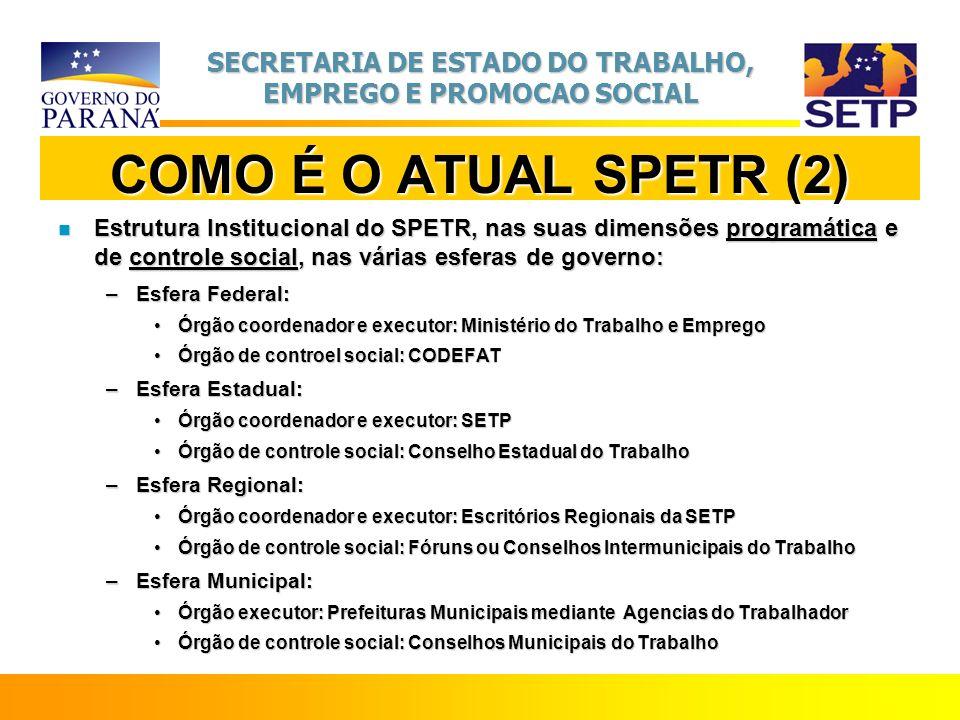 COMO É O ATUAL SPETR (2) Estrutura Institucional do SPETR, nas suas dimensões programática e de controle social, nas várias esferas de governo:
