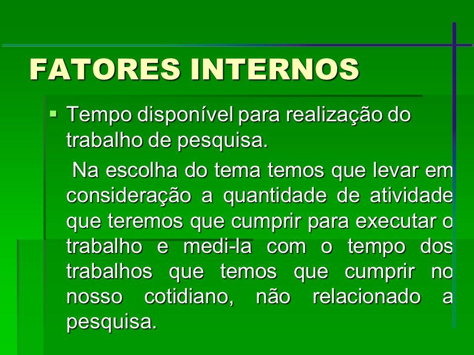 FATORES INTERNOS Tempo disponível para realização do trabalho de pesquisa.
