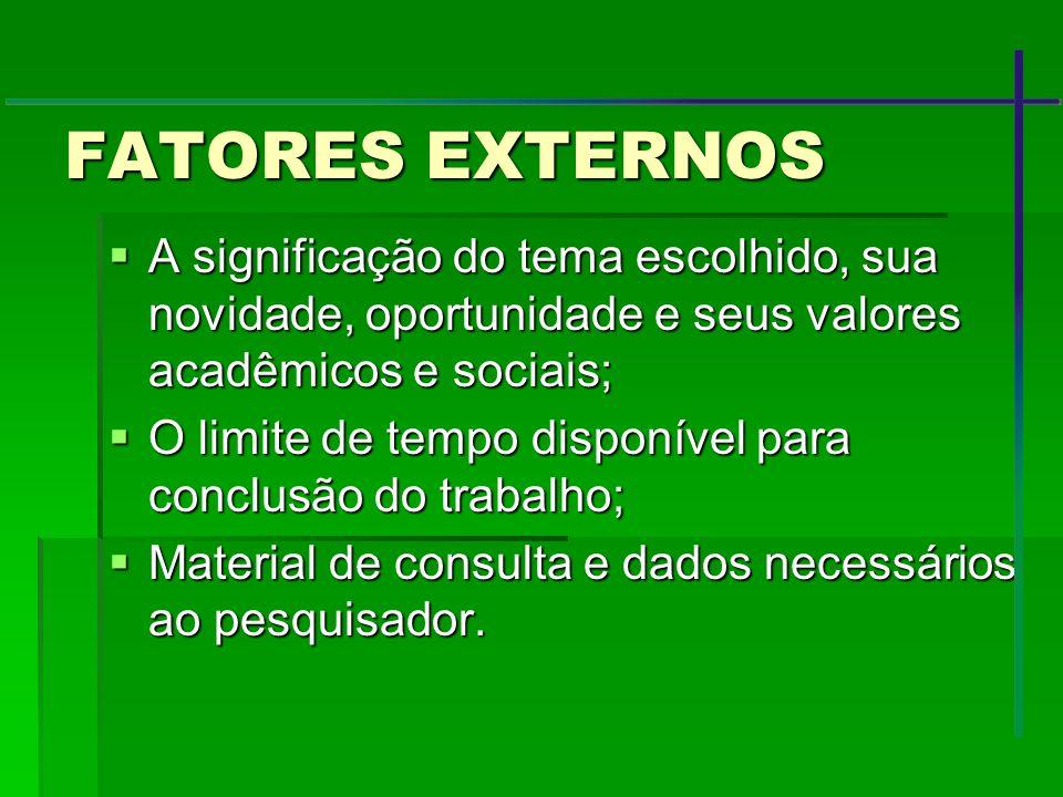 FATORES EXTERNOS A significação do tema escolhido, sua novidade, oportunidade e seus valores acadêmicos e sociais;