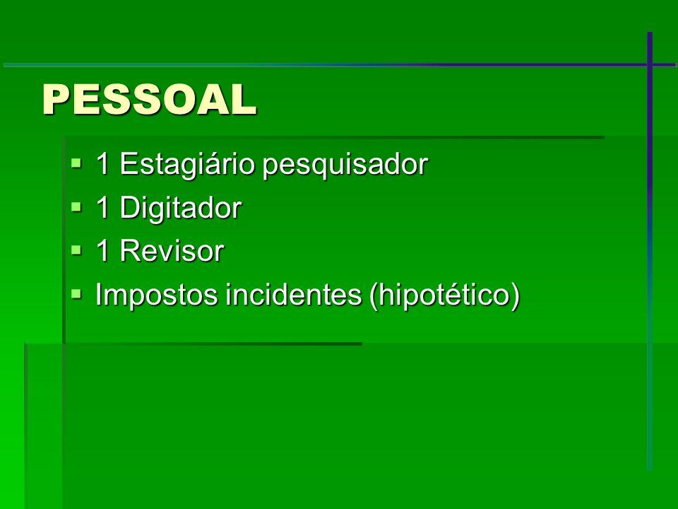 PESSOAL 1 Estagiário pesquisador 1 Digitador 1 Revisor