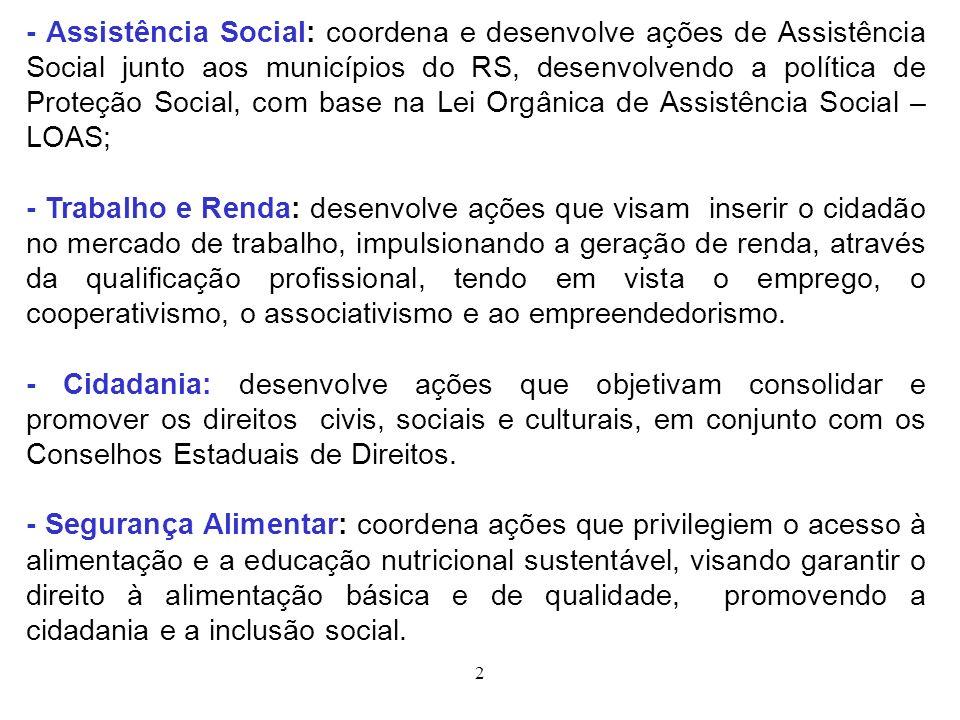 - Assistência Social: coordena e desenvolve ações de Assistência Social junto aos municípios do RS, desenvolvendo a política de Proteção Social, com base na Lei Orgânica de Assistência Social – LOAS;