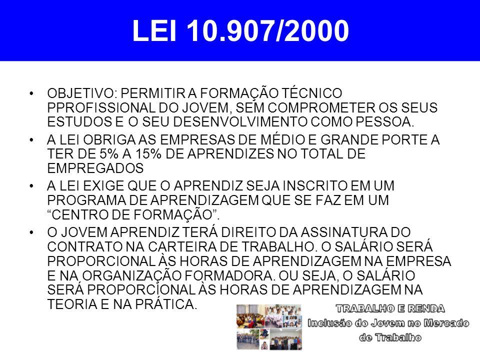 LEI 10.907/2000 OBJETIVO: PERMITIR A FORMAÇÃO TÉCNICO PPROFISSIONAL DO JOVEM, SEM COMPROMETER OS SEUS ESTUDOS E O SEU DESENVOLVIMENTO COMO PESSOA.