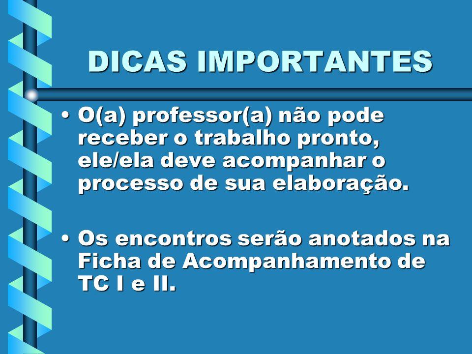 DICAS IMPORTANTES O(a) professor(a) não pode receber o trabalho pronto, ele/ela deve acompanhar o processo de sua elaboração.