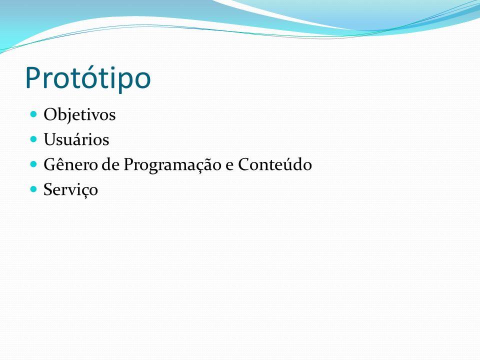 Protótipo Objetivos Usuários Gênero de Programação e Conteúdo Serviço