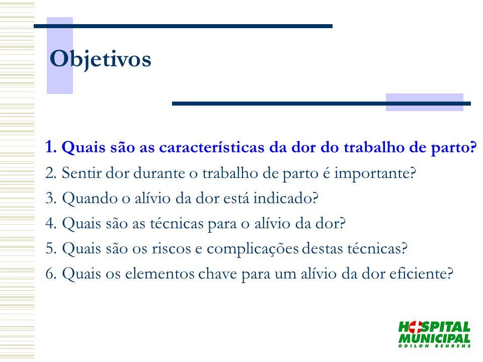 Objetivos 1. Quais são as características da dor do trabalho de parto