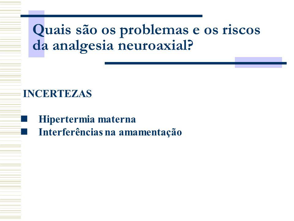 Quais são os problemas e os riscos da analgesia neuroaxial