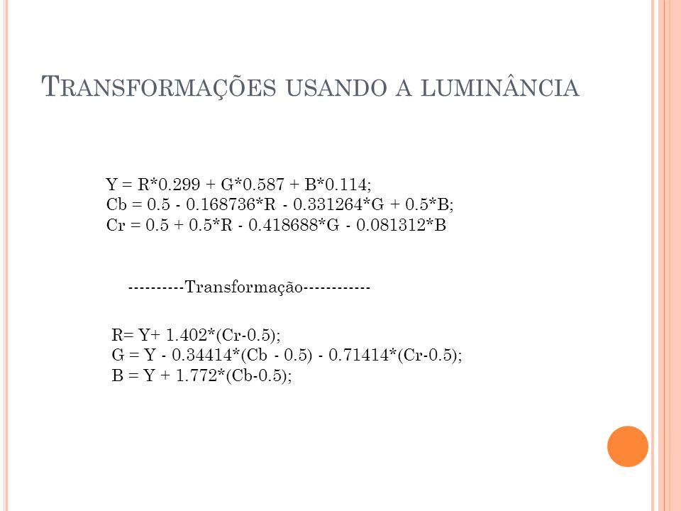 Transformações usando a luminância