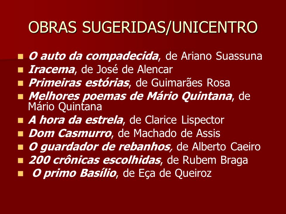 OBRAS SUGERIDAS/UNICENTRO
