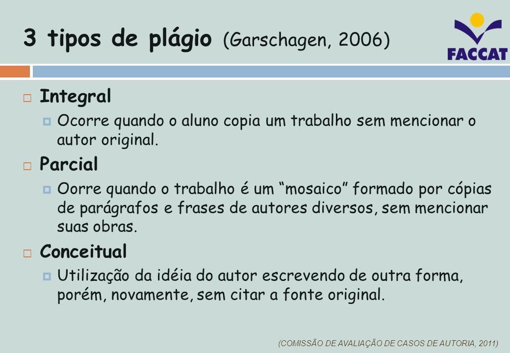 3 tipos de plágio (Garschagen, 2006)
