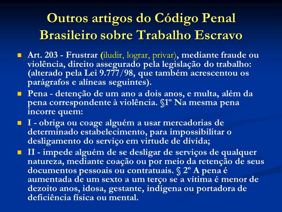 Outros artigos do Código Penal Brasileiro sobre Trabalho Escravo
