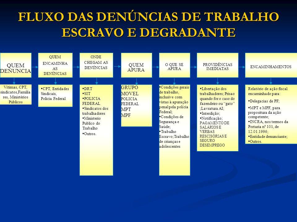 FLUXO DAS DENÚNCIAS DE TRABALHO ESCRAVO E DEGRADANTE