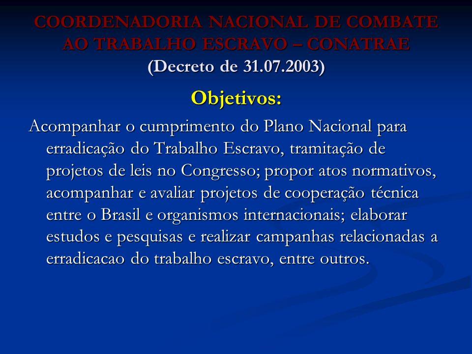 COORDENADORIA NACIONAL DE COMBATE AO TRABALHO ESCRAVO – CONATRAE (Decreto de 31.07.2003)