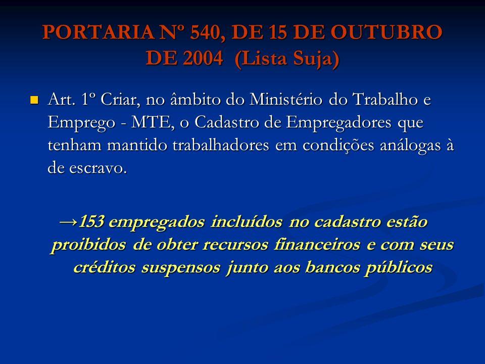 PORTARIA Nº 540, DE 15 DE OUTUBRO DE 2004 (Lista Suja)