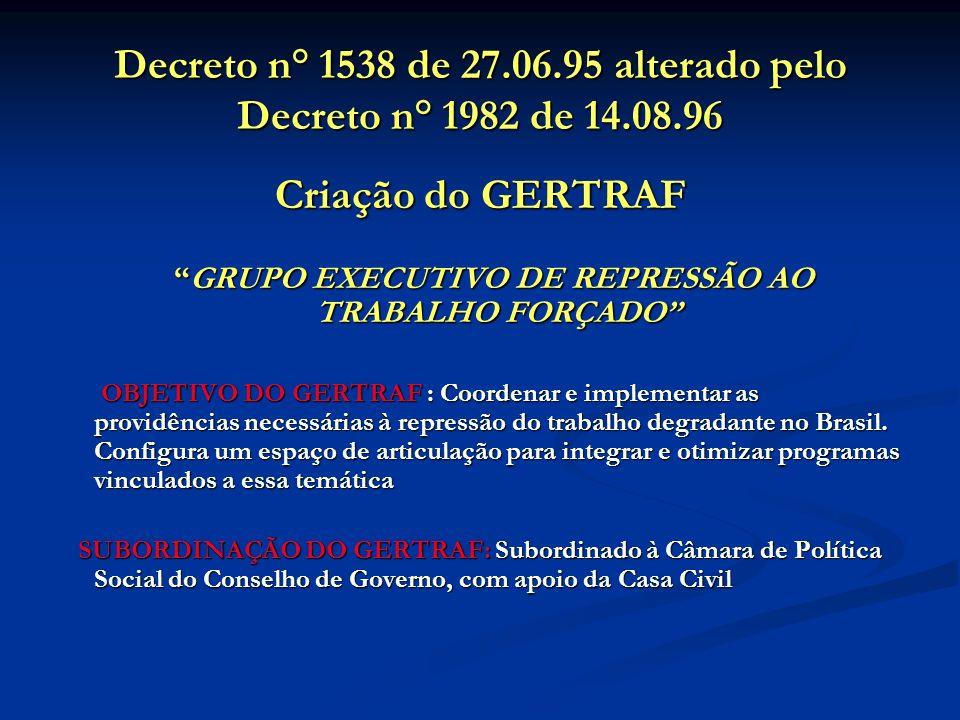 Decreto n° 1538 de 27.06.95 alterado pelo Decreto n° 1982 de 14.08.96