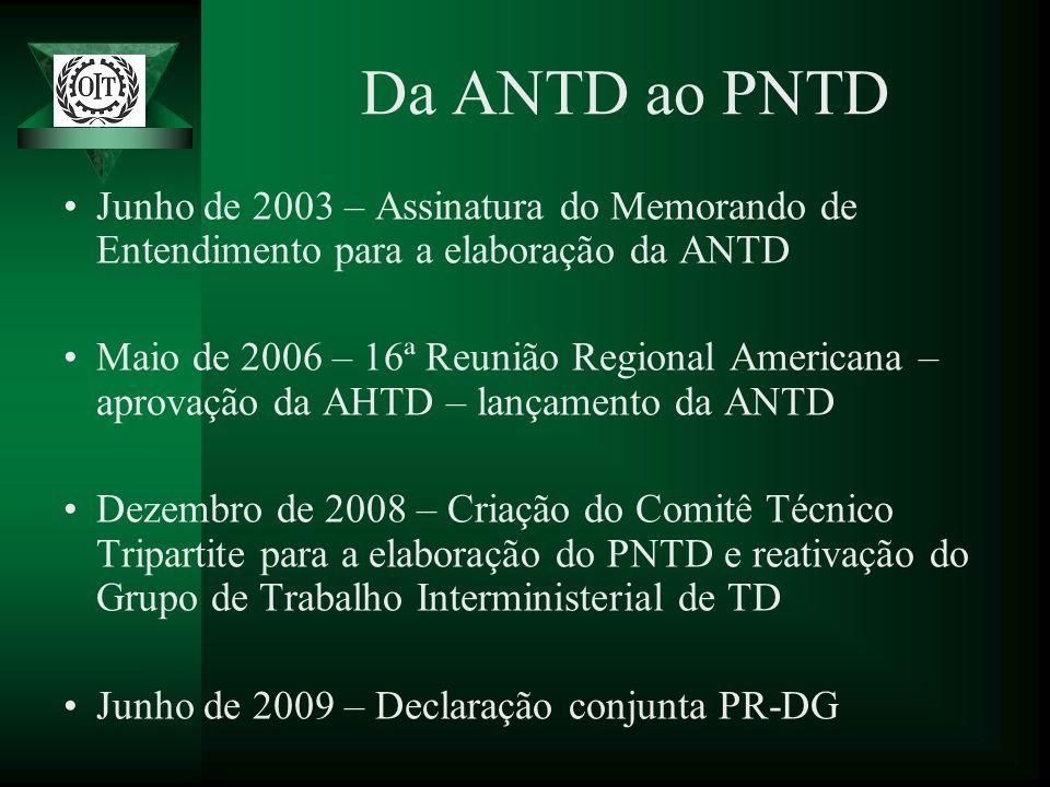 Da ANTD ao PNTD Junho de 2003 – Assinatura do Memorando de Entendimento para a elaboração da ANTD.