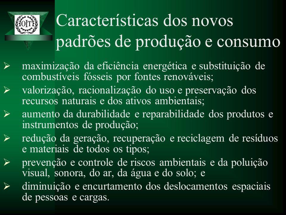 Características dos novos padrões de produção e consumo