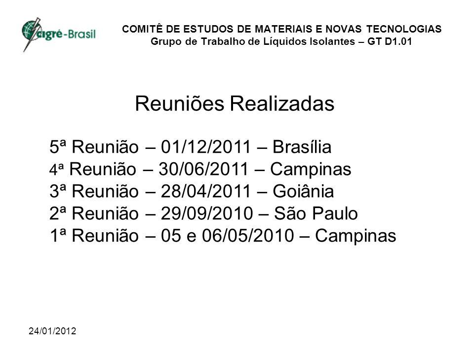 Reuniões Realizadas 5ª Reunião – 01/12/2011 – Brasília