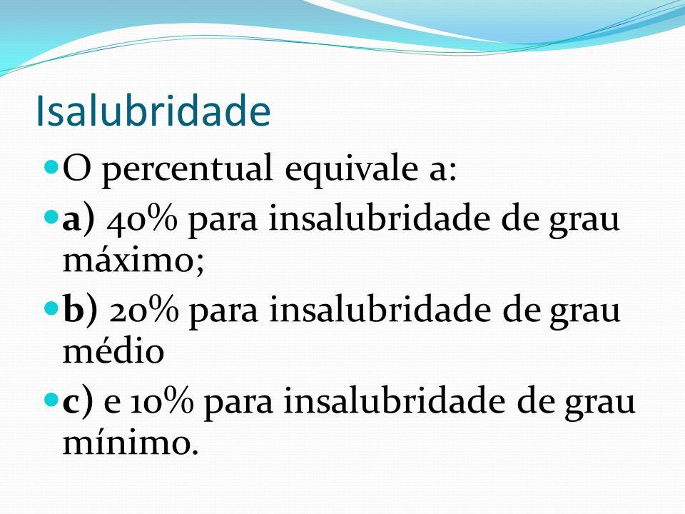 Isalubridade O percentual equivale a: