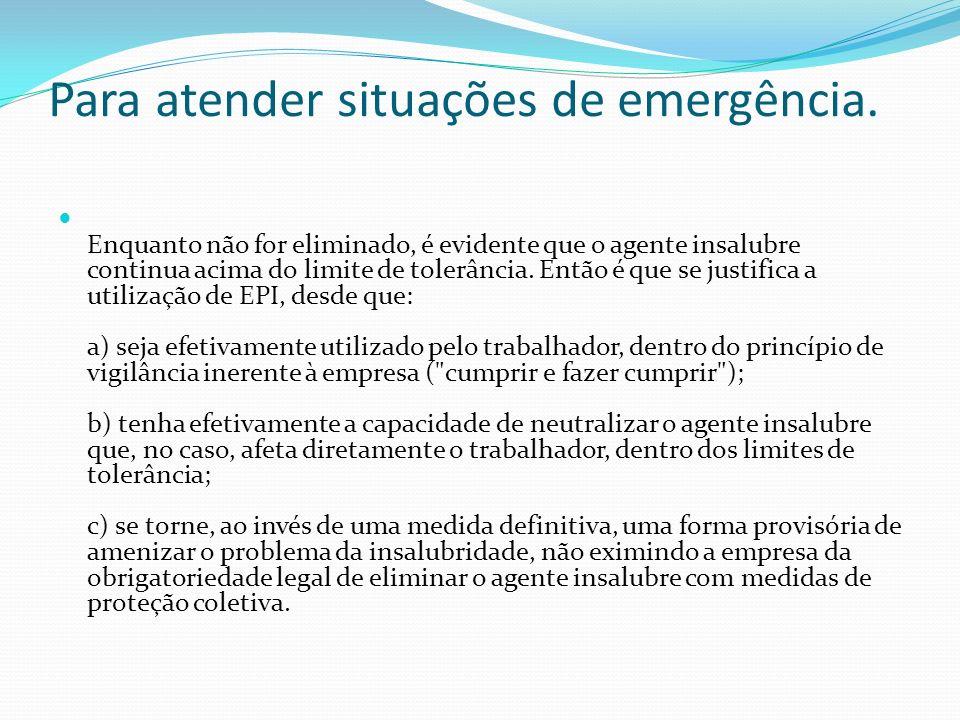Para atender situações de emergência.