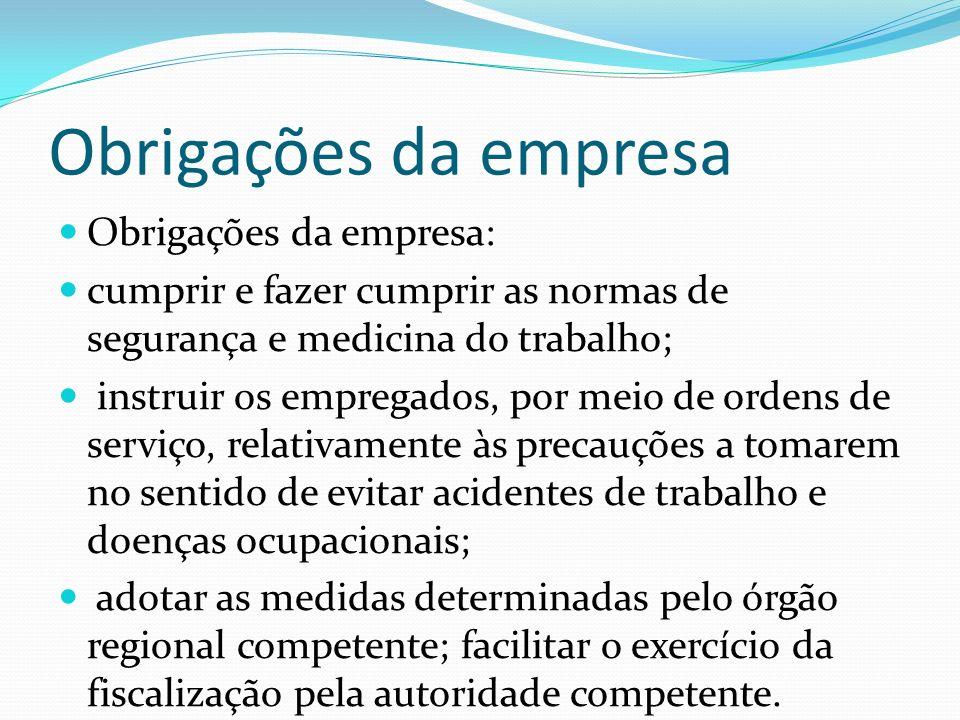 Obrigações da empresa Obrigações da empresa: