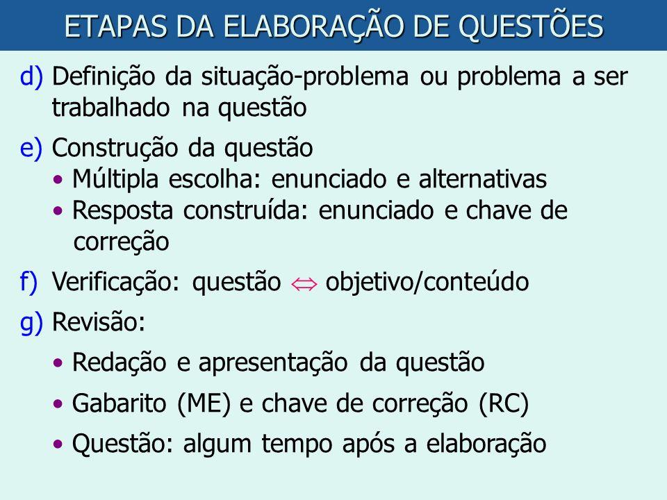 ETAPAS DA ELABORAÇÃO DE QUESTÕES