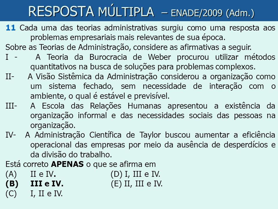 RESPOSTA MÚLTIPLA – ENADE/2009 (Adm.)