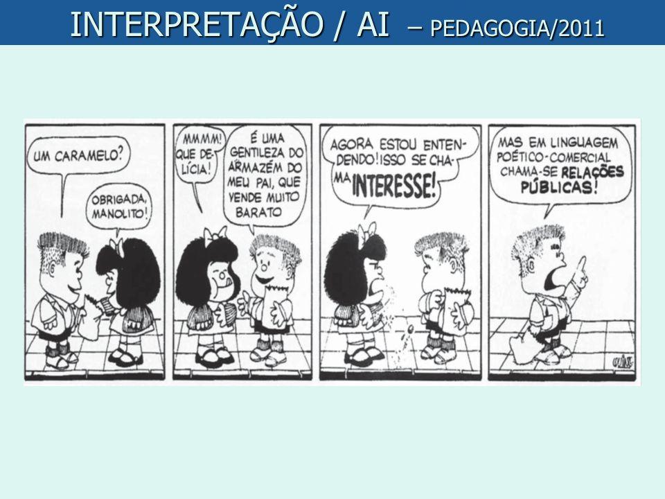 INTERPRETAÇÃO / AI – PEDAGOGIA/2011