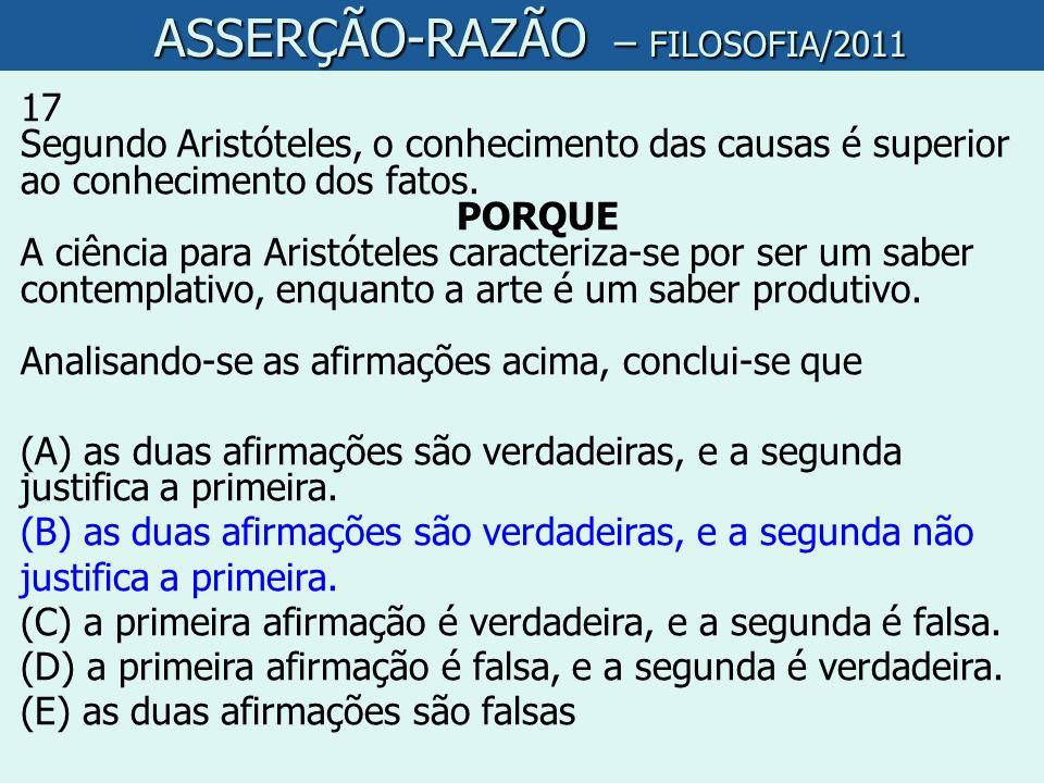 ASSERÇÃO-RAZÃO – FILOSOFIA/2011