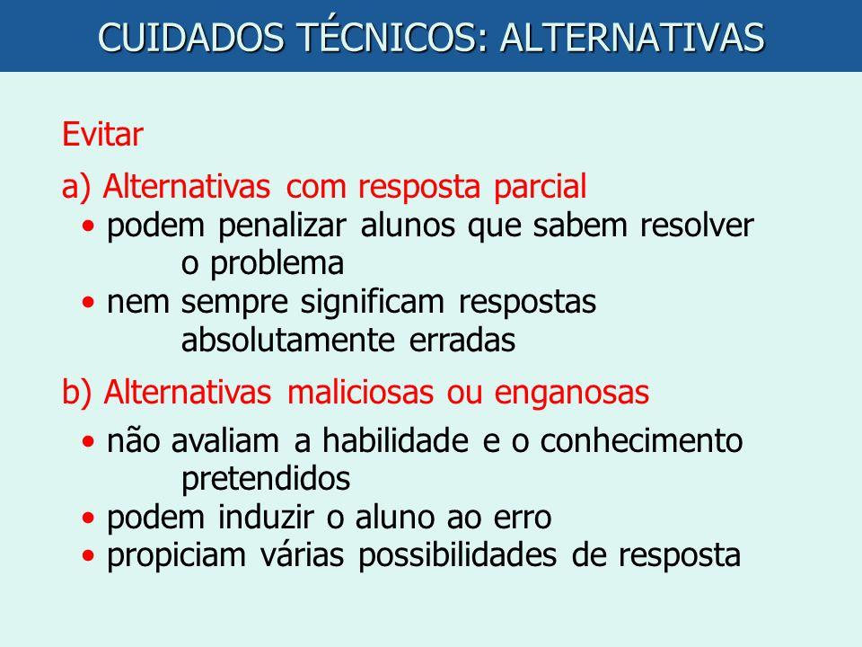 CUIDADOS TÉCNICOS: ALTERNATIVAS
