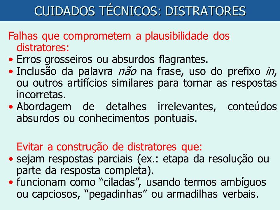 CUIDADOS TÉCNICOS: DISTRATORES