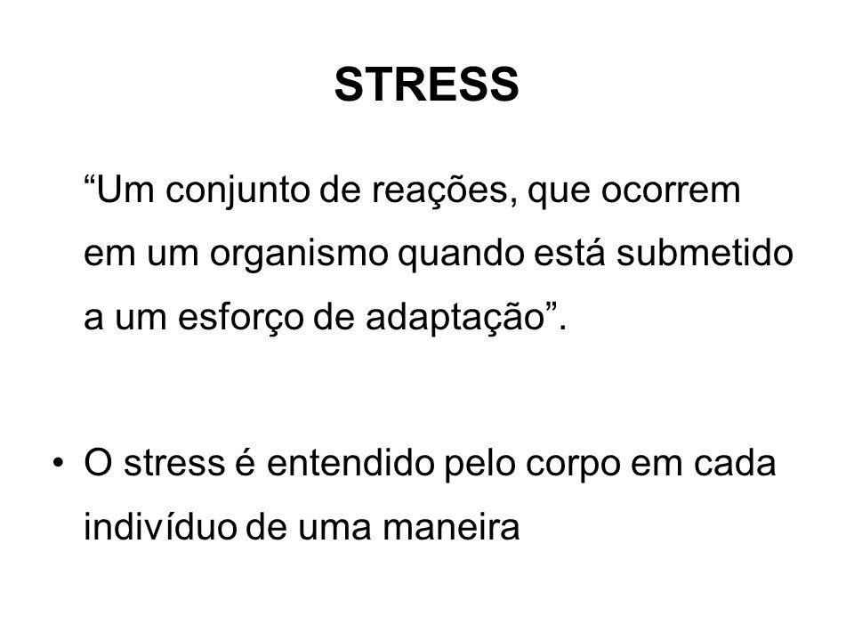 STRESS Um conjunto de reações, que ocorrem em um organismo quando está submetido a um esforço de adaptação .
