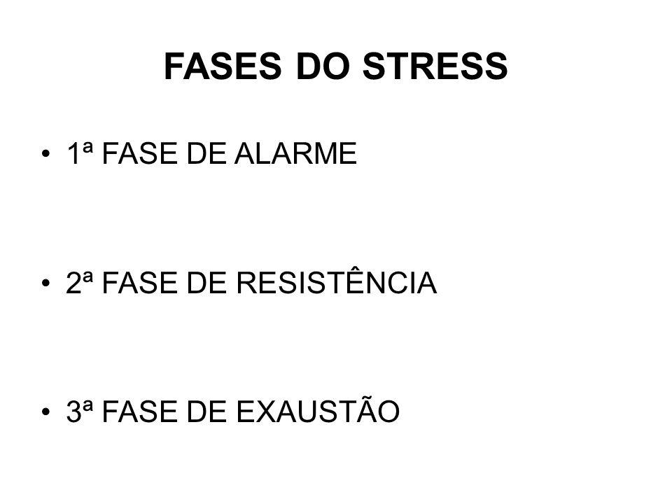 FASES DO STRESS 1ª FASE DE ALARME 2ª FASE DE RESISTÊNCIA