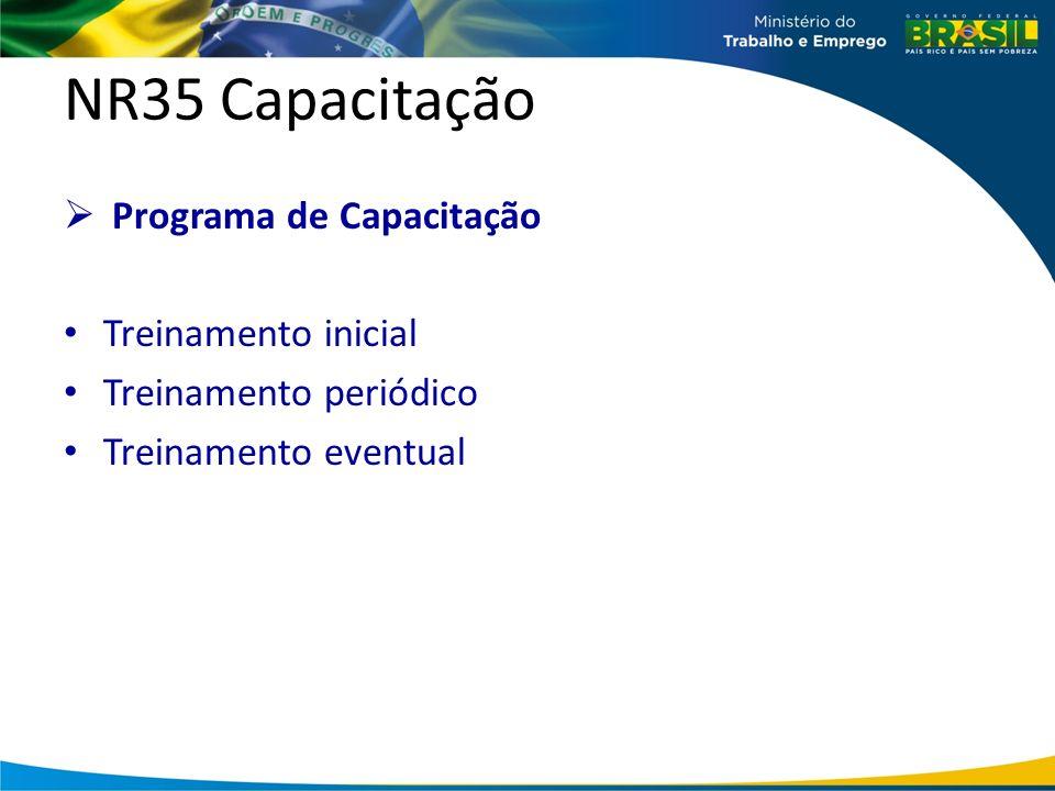 NR35 Capacitação Programa de Capacitação Treinamento inicial